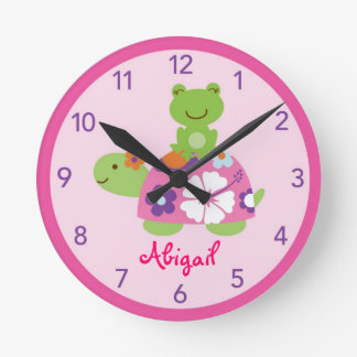 Tropical Turtle Frog Nursery Wall Clock