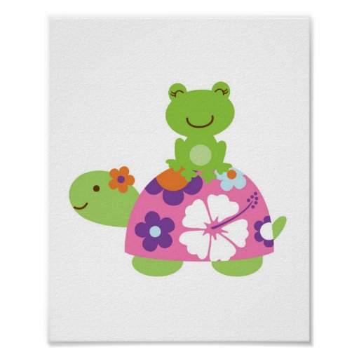 Tropical Turtle Frog Nursery Wall Print