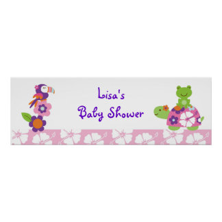Tropical Turtle Frog Personalized Banner Sign