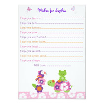 Tropical Turtle Frog Wishes for Baby Card