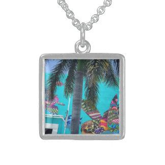 Tropical turtle, palm tree paradise sterling silver necklace