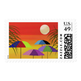 Tropical Umbrella Sunset Postage Stamps