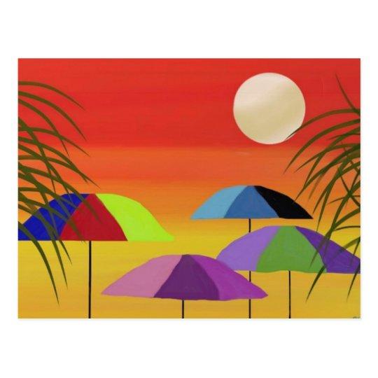 Tropical Umbrella Sunset Postcard