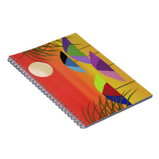 Tropical Umbrella Sunset Spiral Notebooks