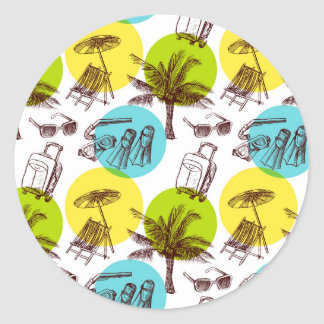 Tropical vacation classic round sticker