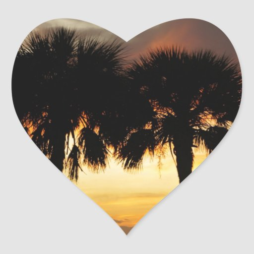 Tropical Vacation Heart Sticker