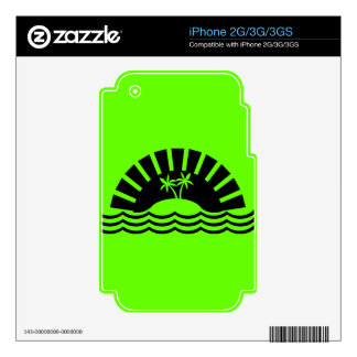 TROPICAL VACATION ISLAND PALM TREES OCEAN SUNSHINE DECAL FOR iPhone 2G