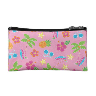 Tropical Vacation on Pink Pattern Makeup Bags