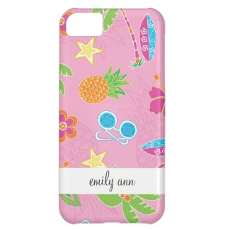 Tropical Vacation on Pink Pattern Cover For iPhone 5C