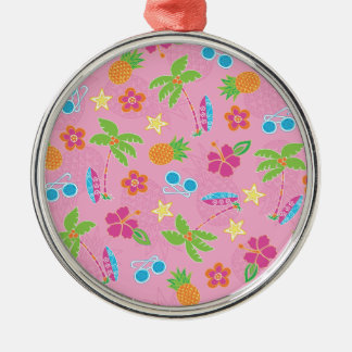 Tropical Vacation on Pink Pattern Metal Ornament