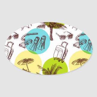 Tropical vacation oval sticker