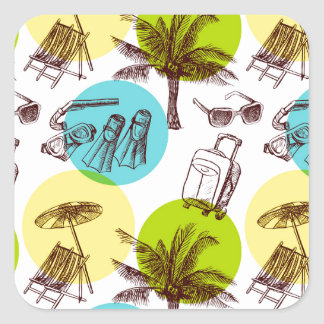 Tropical vacation square sticker