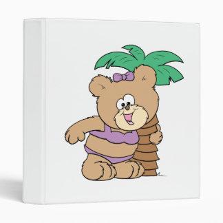 tropical vacation teddy bear girl cutie binder