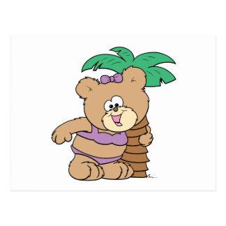 tropical vacation teddy bear girl cutie postcard