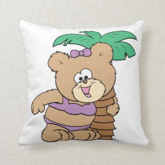 tropical vacation teddy bear girl cutie throw pillow