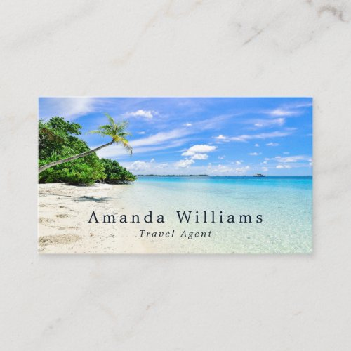 Tropical Vacation Travel Agent Business Card