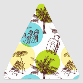 Tropical vacation triangle sticker