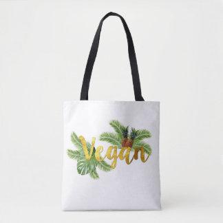 Tropical Vegan with Pineapples Tote Bag