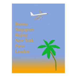 Tropical Vintage Air Travel Postcard