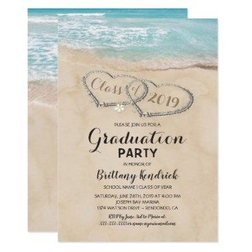 Beach Themed Tropical Vintage Beach Graduation Party Card