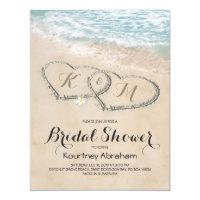 Tropical Vintage Beach Heart Bridal Shower Invitation
