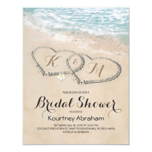 Tropical Vintage Beach Heart Bridal Shower Invitation