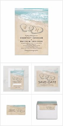 Tropical Vintage Beach Heart Invitation Suite