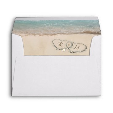 special_stationery Tropical Vintage Beach Heart Shore Envelope