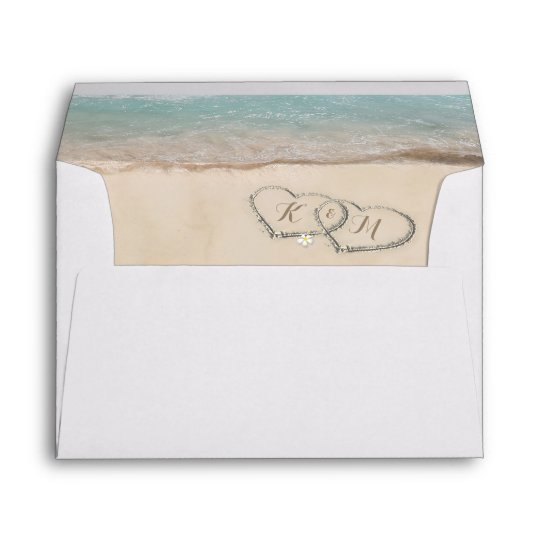 Tropical Vintage Beach Heart Shore Envelope