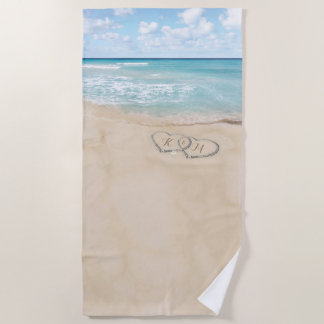 Tropical Vintage Beach Heart Shore Monogram Beach Towel