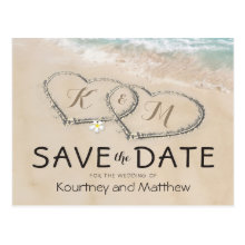 Tropical Vintage Beach Heart Shore Save the Date Postcards