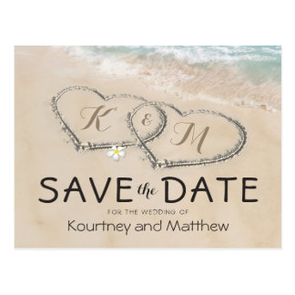 Tropical Vintage Beach Heart Shore Save the Date Postcard