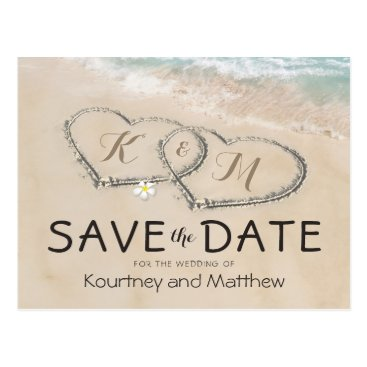 special_stationery Tropical Vintage Beach Heart Shore Save the Date Postcard