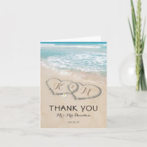 Tropical Vintage Beach Heart Shore Thank You