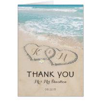 Tropical Vintage Beach Heart Shore Thank You