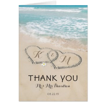 special_stationery Tropical Vintage Beach Heart Shore Thank You Card