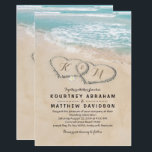 """Tropical Vintage Beach Heart Shore Wedding Card<br><div class=""""desc"""">Beach destination wedding invitations featuring a summer tropical beach island background, a vintage sandy beach with two hearts in the shoreline, your initials and a wedding text template. Click on the """"Customize it"""" button for further personalization of this template. You will be able to modify all text, including the style,...</div>"""