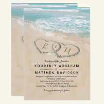 Tropical Vintage Beach Heart Shore Wedding Card