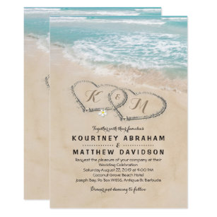Beach wedding invitations zazzle tropical vintage beach heart shore wedding card filmwisefo