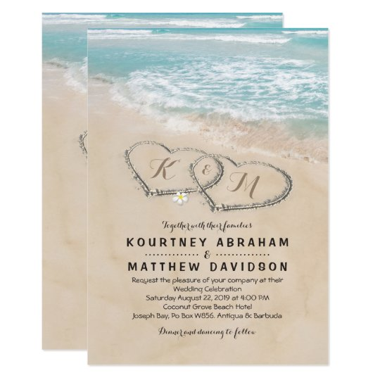 For Beach Wedding Invitation Sample: Tropical Vintage Beach Heart Shore Wedding Card