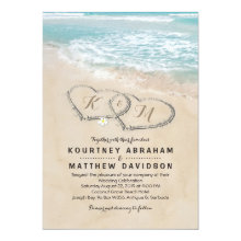 Tropical Vintage Beach Heart Shore Wedding Invitations