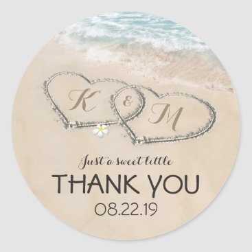 special_stationery Tropical Vintage Beach Heart Shore Wedding Favor Classic Round Sticker