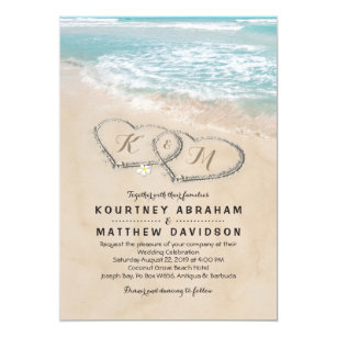 Tropical Vintage Beach Heart S Wedding Invitation