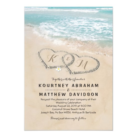 Tropical Vintage Beach Heart Shore Wedding Invitation