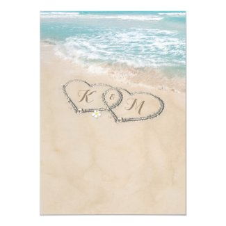 Tropical Vintage Beach Heart Shore Wedding Invitation