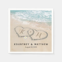 Tropical Vintage Beach Heart Shore Wedding Napkin