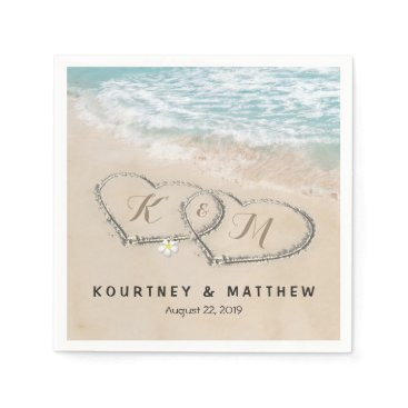 special_stationery Tropical Vintage Beach Heart Shore Wedding Napkin