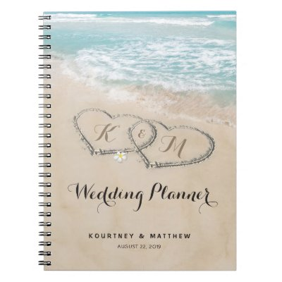 Tropical Vintage Beach Heart Shore Wedding Planner Notebook