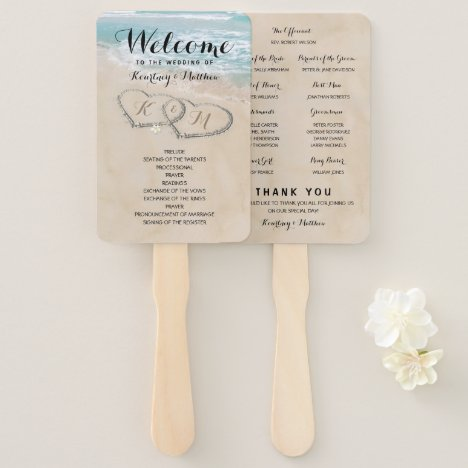 Tropical Vintage Beach Heart Shore Wedding Program Hand Fan