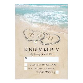Tropical Vintage Beach Heart Shore Wedding RSVP Card